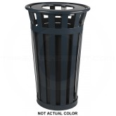 "Witt Industries M2401-FT-SLV Oakley Basic Slatted Metal Waste Receptacle with Flat Top Lid - 24 Gallon Capacity - 22 1/2"" Dia. x 35"" H - Silver in Color"