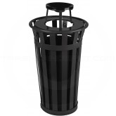 "Witt Industries M2401-AT-BK Oakley Basic Slatted Metal Waste Receptacle with Ash Top Lid - 24 Gallon Capacity - 22 1/2"" Dia. x 44 1/4"" H - Black in Color"