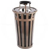 "Witt Industries M2401-AT-BN Oakley Basic Slatted Metal Waste Receptacle with Ash Top Lid - 24 Gallon Capacity - 22 1/2"" Dia. x 44 1/4"" H - Brown in Color"