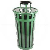 "Witt Industries M2401-AT-GN Oakley Basic Slatted Metal Waste Receptacle with Ash Top Lid - 24 Gallon Capacity - 22 1/2"" Dia. x 44 1/4"" H - Green in Color"
