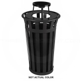 "Witt Industries M2401-AT-SLV Oakley Basic Slatted Metal Waste Receptacle with Ash Top Lid - 24 Gallon Capacity - 22 1/2"" Dia. x 44 1/4"" H - Silver in Color"