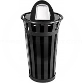 "Witt Industries M2401-DT-BK Oakley Basic Slatted Metal Waste Receptacle with Dome Top Lid - 24 Gallon Capacity - 22 1/2"" Dia. x 44 1/4"" H - Black in Color"