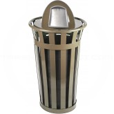 "Witt Industries M2401-DT-BN Oakley Basic Slatted Metal Waste Receptacle with Dome Top Lid - 24 Gallon Capacity - 22 1/2"" Dia. x 44 1/4"" H - Brown in Color"