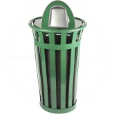 "Witt Industries M2401-DT-GN Oakley Basic Slatted Metal Waste Receptacle with Dome Top Lid - 24 Gallon Capacity - 22 1/2"" Dia. x 44 1/4"" H - Green in Color"