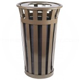 "Witt Industries M2401-FT-BN Oakley Basic Slatted Metal Waste Receptacle with Flat Top Lid - 24 Gallon Capacity - 22 1/2"" Dia. x 35"" H - Brown in Color"