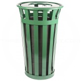 "Witt Industries M2401-FT-GN Oakley Basic Slatted Metal Waste Receptacle with Flat Top Lid - 24 Gallon Capacity - 22 1/2"" Dia. x 35"" H - Green in Color"