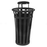 "Witt Industries M2401-RC-BK Oakley Basic Slatted Metal Waste Receptacle with Rain Cap Lid - 24 Gallon Capacity - 22 1/2"" Dia. x 44 1/4"" H - Black in Color"