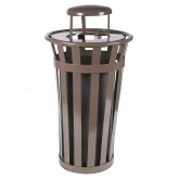 "Witt Industries M2401-RC-BN Oakley Basic Slatted Metal Waste Receptacle with Rain Cap Lid - 24 Gallon Capacity - 22 1/2"" Dia. x 44 1/4"" H - Brown in Color"