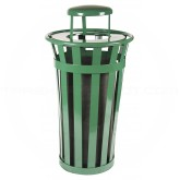 "Witt Industries M2401-RC-GN Oakley Basic Slatted Metal Waste Receptacle with Rain Cap Lid - 24 Gallon Capacity - 22 1/2"" Dia. x 44 1/4"" H - Green in Color"