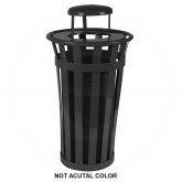 "Witt Industries M2401-RC-SLV Oakley Basic Slatted Metal Waste Receptacle with Rain Cap Lid - 24 Gallon Capacity - 22 1/2"" Dia. x 44 1/4"" H - Silver in Color"