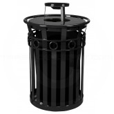 "Witt Industries M3600-R-AT-BK Oakley Ring Band Slatted Metal Waste Receptacle with Ash Urn Lid - 40 Gallon Capacity - 28"" Dia. x 44 1/4"" H - Black in Color"