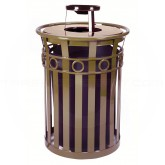 "Witt Industries M3600-R-AT-BN Oakley Ring Band Slatted Metal Waste Receptacle with Ash Urn Lid - 40 Gallon Capacity - 28"" Dia. x 44 1/4"" H - Brown in Color"