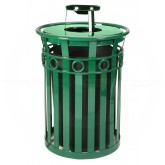 "Witt Industries M3600-R-AT-GN Oakley Ring Band Slatted Metal Waste Receptacle with Ash Urn Lid - 40 Gallon Capacity - 28"" Dia. x 44 1/4"" H - Green in Color"