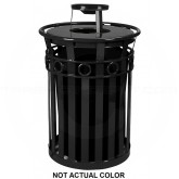 "Witt Industries M3600-R-AT-SLV Oakley Ring Band Slatted Metal Waste Receptacle with Ash Urn Lid - 40 Gallon Capacity - 28"" Dia. x 44 1/4"" H - Silver in Color"