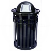 "Witt Industries M3600-R-DT-BK Oakley Ring Band Slatted Metal Waste Receptacle with Dome Top Lid - 40 Gallon Capacity - 28"" Dia. x 45 1/2"" H - Black in Color"