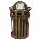 "Witt Industries M3600-R-DT-BN Oakley Ring Band Slatted Metal Waste Receptacle with Dome Top Lid - 40 Gallon Capacity - 28"" Dia. x 45 1/2"" H - Brown in Color"