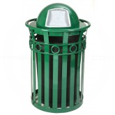 "Witt Industries M3600-R-DT-GN Oakley Ring Band Slatted Metal Waste Receptacle with Dome Top Lid - 40 Gallon Capacity - 28"" Dia. x 45 1/2"" H - Green in Color"