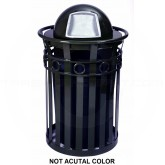 "Witt Industries M3600-R-DT-SLV Oakley Ring Band Slatted Metal Waste Receptacle with Dome Top Lid - 40 Gallon Capacity - 28"" Dia. x 45 1/2"" H - Silver in Color"