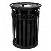 "Witt Industries M3600-R-FT-BK Oakley Ring Can Slatted Metal Waste Receptacle with Flat Top Lid - 40 Gallon Capacity - 28"" Dia. x 36 1/4"" H - Black in Color"
