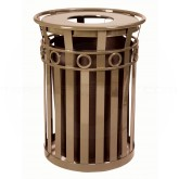 "Witt Industries M3600-R-FT-BN Oakley Ring Can Slatted Metal Waste Receptacle with Flat Top Lid - 40 Gallon Capacity - 28"" Dia. x 36 1/4"" H - Brown in Color"