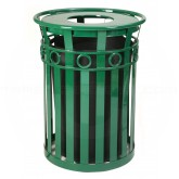 "Witt Industries M3600-R-FT-GN Oakley Ring Can Slatted Metal Waste Receptacle with Flat Top Lid - 40 Gallon Capacity - 28"" Dia. x 36 1/4"" H - Green in Color"