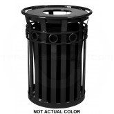 "Witt Industries M3600-R-FT-SLV Oakley Ring Can Slatted Metal Waste Receptacle with Flat Top Lid - 40 Gallon Capacity - 28"" Dia. x 36 1/4"" H - Silver in Color"