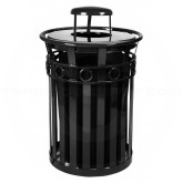 "Witt Industries M3600-R-RC-BK Oakley Ring Band Slatted Metal Waste Receptacle with Rain Cap Lid - 40 Gallon Capacity - 28"" Dia. x 44 1/4"" H - Black in Color"