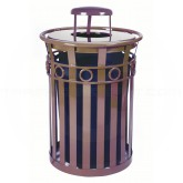 "Witt Industries M3600-R-RC-BN Oakley Ring Band Slatted Metal Waste Receptacle with Rain Cap Lid - 40 Gallon Capacity - 28"" Dia. x 44 1/4"" H - Brown in Color"