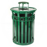 "Witt Industries M3600-R-RC-GN Oakley Ring Band Slatted Metal Waste Receptacle with Rain Cap Lid - 40 Gallon Capacity - 28"" Dia. x 44 1/4"" H - Green in Color"