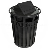 "Witt Industries M3600-R-SWT-BK Oakley Ring Band Slatted Metal Waste Receptacle with Swing Top Lid - 40 Gallon Capacity - 28"" Dia. x 45 1/2"" H - Black in Color"