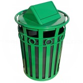 "Witt Industries M3600-R-SWT-GN Oakley Ring Band Slatted Metal Waste Receptacle with Swing Top Lid - 40 Gallon Capacity - 28"" Dia. x 45 1/2"" H - Green in Color"