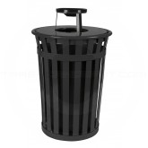 "Witt Industries M3601-AT-BK Oakley Basic Slatted Metal Waste Receptacle with Ash Urn Lid - 36 Gallon Capacity - 28"" Dia. x 44 1/4"" H - Black in Color"