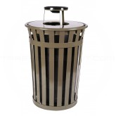 "Witt Industries M3601-AT-BN Oakley Basic Slatted Metal Waste Receptacle with Ash Urn Lid - 36 Gallon Capacity - 28"" Dia. x 44 1/4"" H - Brown in Color"