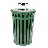 "Witt Industries M3601-AT-GN Oakley Basic Slatted Metal Waste Receptacle with Ash Urn Lid - 36 Gallon Capacity - 28"" Dia. x 44 1/4"" H - Green in Color"