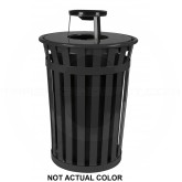 "Witt Industries M3601-AT-SLV Oakley Basic Slatted Metal Waste Receptacle with Ash Urn Lid - 36 Gallon Capacity - 28"" Dia. x 44 1/4"" H - Silver in Color"