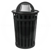 "Witt Industries M3601-DT-BK Oakley Basic Slatted Metal Waste Receptacle with Dome Top Lid - 36 Gallon Capacity - 28"" Dia. x 45 1/2"" H - Black in Color"