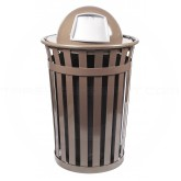 "Witt Industries M3601-DT-BN Oakley Basic Slatted Metal Waste Receptacle with Dome Top Lid - 36 Gallon Capacity - 28"" Dia. x 45 1/2"" H - Brown in Color"