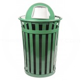 "Witt Industries M3601-DT-GN Oakley Basic Slatted Metal Waste Receptacle with Dome Top Lid - 36 Gallon Capacity - 28"" Dia. x 45 1/2"" H - Green in Color"