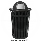 "Witt Industries M3601-DT-SLV Oakley Basic Slatted Metal Waste Receptacle with Dome Top Lid - 36 Gallon Capacity - 28"" Dia. x 45 1/2"" H - Silver in Color"