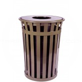 "Witt Industries M3601-FT-BN Oakley Basic Slatted Metal Waste Receptacle with Flat Top Lid - 36 Gallon Capacity - 28"" Dia. x 36"" H - Brown in Color"
