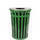 "Witt Industries M3601-FT-GN Oakley Basic Slatted Metal Waste Receptacle with Flat Top Lid - 36 Gallon Capacity - 28"" Dia. x 36"" H - Green in Color"