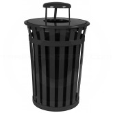 "Witt Industries M3601-RC-BK Oakley Basic Slatted Metal Waste Receptacle with Rain Cap Lid - 36 Gallon Capacity - 28"" Dia. x 44 1/4"" H - Black in Color"