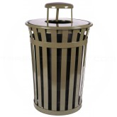 "Witt Industries M3601-RC-BN Oakley Basic Slatted Metal Waste Receptacle with Rain Cap Lid - 36 Gallon Capacity - 28"" Dia. x 44 1/4"" H - Brown in Color"