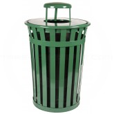 "Witt Industries M3601-RC-GN Oakley Basic Slatted Metal Waste Receptacle with Rain Cap Lid - 36 Gallon Capacity - 28"" Dia. x 44 1/4"" H - Green in Color"
