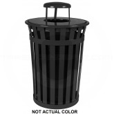 "Witt Industries M3601-RC-SLV Oakley Basic Slatted Metal Waste Receptacle with Rain Cap Lid - 36 Gallon Capacity - 28"" Dia. x 44 1/4"" H - Silver in Color"