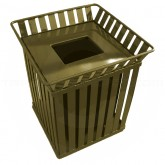 "Witt Industries M3601-SQ-FT-BN Oakley Collection Slatted Square Waste Receptacle - 36 Gallon Capacity -  28"" Sq x 32 3/4"" H - Brown"