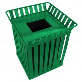 "Witt Industries M3601-SQ-FT-GN Oakley Collection Slatted Square Waste Receptacle - 36 Gallon Capacity -  28"" Sq x 32 3/4"" H - Green"