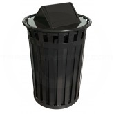 "Witt Industries M3601-SWT-BK Oakley Basic Slatted Metal Waste Receptacle with Swing Top Lid - 36 Gallon Capacity - 28"" Dia. x 45 1/2"" H - Black in Color"