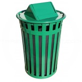 "Witt Industries M3601-SWT-GN Oakley Basic Slatted Metal Waste Receptacle with Swing Top Lid - 36 Gallon Capacity - 28"" Dia. x 45 1/2"" H - Green in Color"