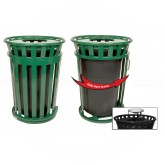 """Witt Industries M3601SD-AT-GN Oakley Basic Slatted Metal Waste Receptacle with Slide Door and Ash Urn Lid - 36 Gallon Capacity - 28"""" Dia. x 47 1/4"""" H - Green in Color"""